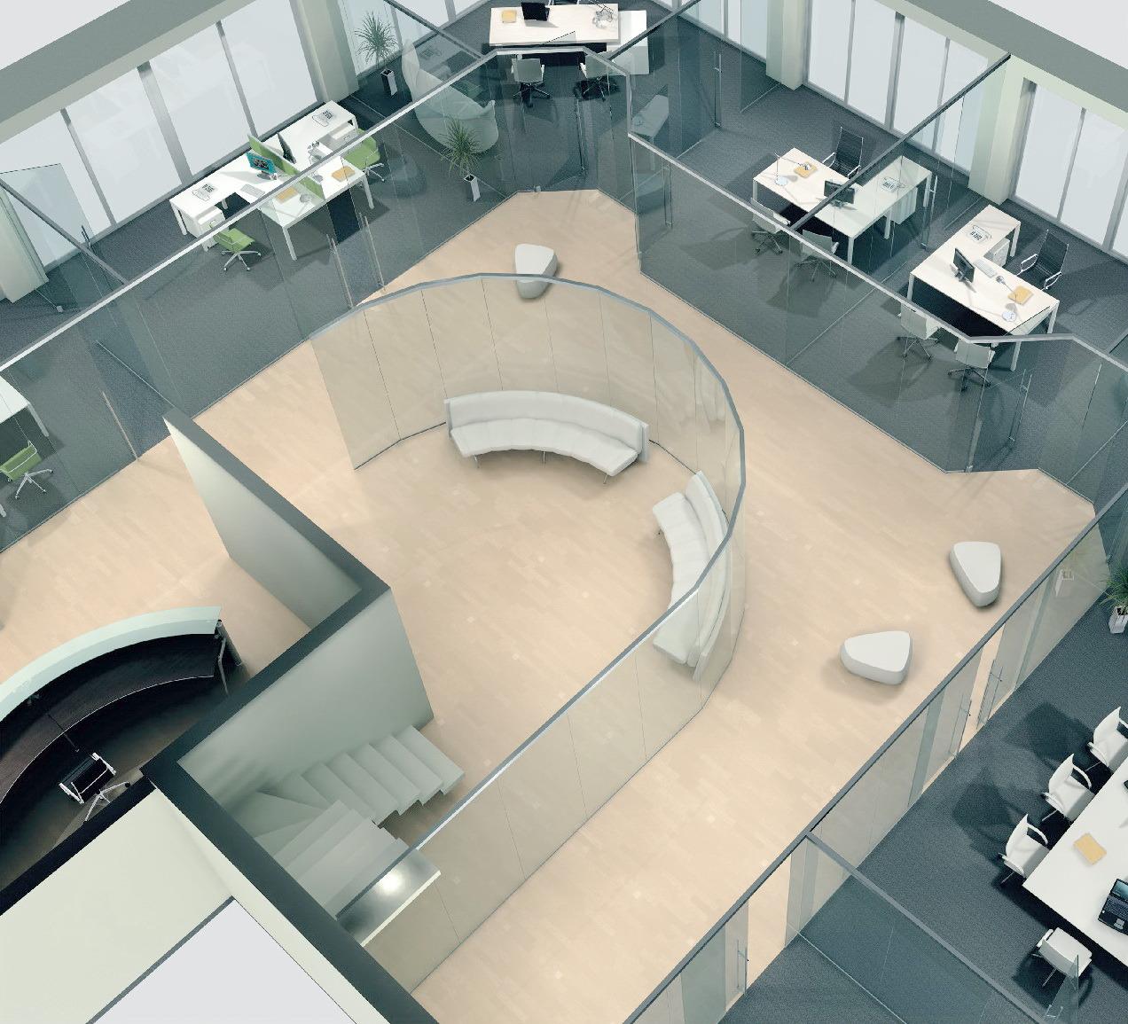 Офис из прямых и радиусных перегородок